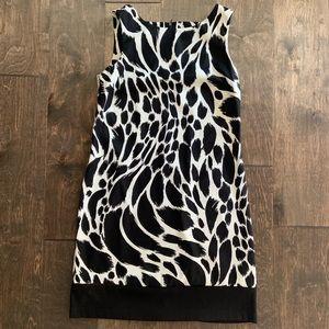 AB Studio Black and White Animal Print Shift Dress